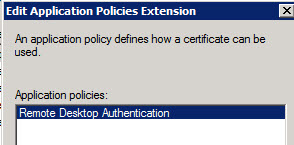 Remote desktop over ssl marlo luiz binsfeld back on the certificate template properties remove all other entries only remote desktop authentication should be present yelopaper Gallery